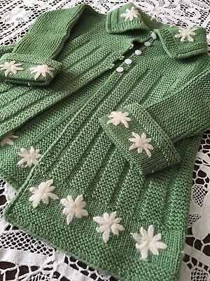 Antique 1920s GREEN KNIT Childs Dress SWEATER Coat Embroidered ANGORA FLOWERS