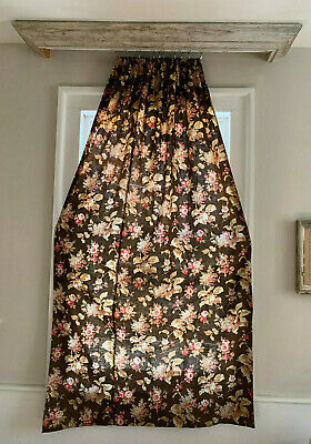 Antique French Curtain with Floral Chimney Sweep Fabric Circa 1870