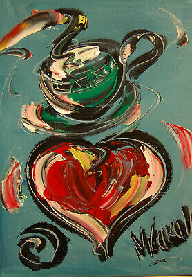HEARTS COFFEE  ARTWORK  POPART Impasto Impressionism Art Oil Painting Signed