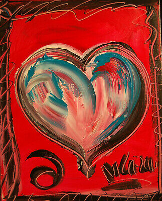SUPERB HEARTS   ARTWORK  POPART Impasto Impressionism Art Oil Painting Signed