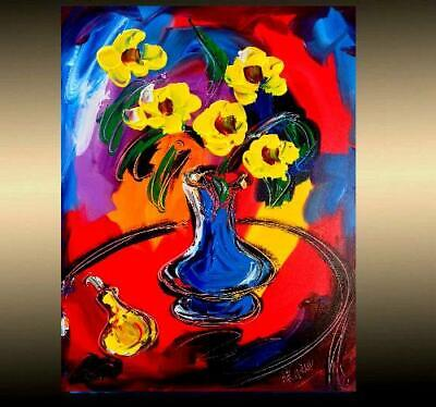 FLOWERS   ARTWORK  POPART Impasto Impressionism Art Oil Painting Signed KAZAV