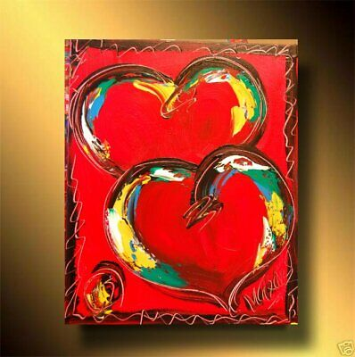 VALENTINE HEARTS Abstract Oil Painting Original Canvas Wall Decor MILILR