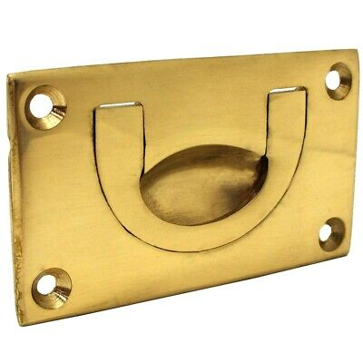 SMALL FLUSH HANDLE 70mm Solid Brass Recessed Cabinet Drawer Drop Pull Rectangle