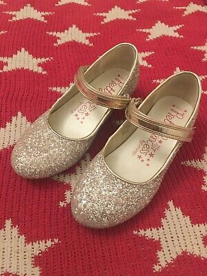 Girls Glitter Sparkly Gold Party Shoes Size 1/33
