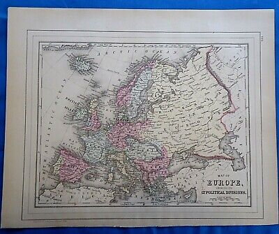 5 Vintage 1884 MAPS ~ EUROPE / EUROPEAN COUNTRIES Old Antique Original