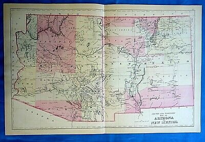 Vintage 1884 MAP ~ TERRITORIES of ARIZONA & NEW MEXICO Old Antique Original