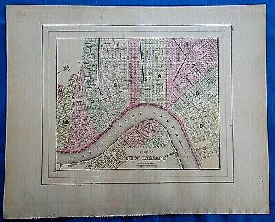 Vintage 1884 MAP ~ NEW ORLEANS, LOUISIANA Old Antique Original & Authentic
