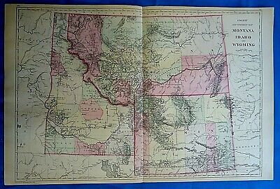 Vintage 1884 MAP ~ MONTANA - IDAHO & WYOMING TERRITORIES Old Antique Original