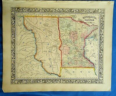 Vintage 1860 MAP ~ NEBRASKA & DACOTAH TERRITORY - MINNESOTA Ontique Original