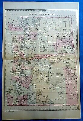 Vintage 1884 MAP ~ WASHINGTON TERRITORY - OREGON Old Antique Original