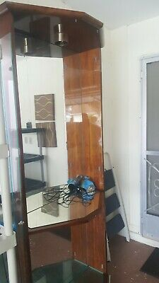 Vintage Bombay Company Curved Glass Wood Curio Cabinet 3 Shelf Display