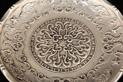 Rare Chinese Silver-Plated Copper Decorative Plate Carving Pattern Old