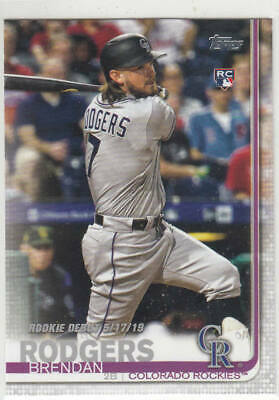 Brendan Rodgers 2019 Topps Update Rc #Us45 Colorado Rockies