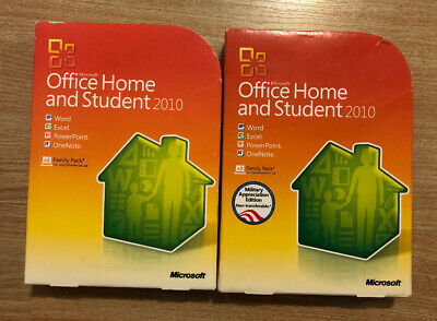 Lot Of 2 Microsoft OFFICE HOME AND STUDENT 2010 product key family pack X3