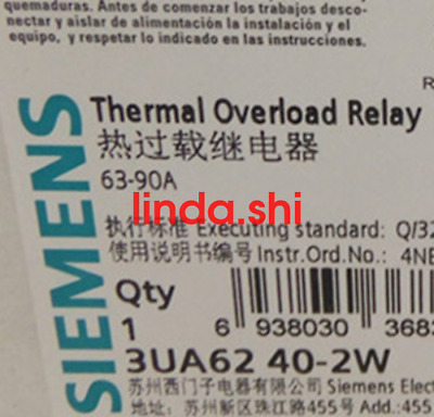 1PC New Siemens Thermal Overload Relay 3UA6240-2W