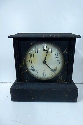 Antique Art Deco Gilbert Marble Painted Wooden Mantle Clock
