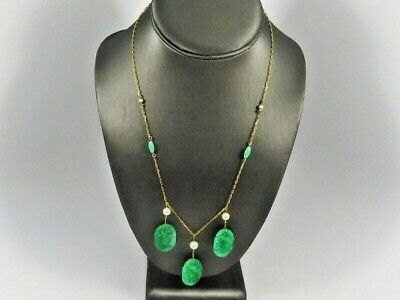 Gorgeous 14K ITALY JADE CARVED APPLE GREEN Vintage Necklace