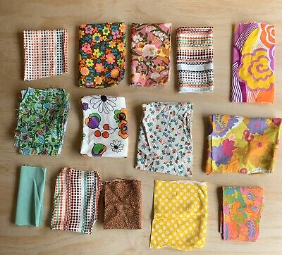 Vintage Fabric Lot Bright Colors Material Hippie Groovy 60s 70s Small Pcs