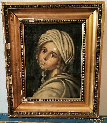 Wonderful smaller antique oli painting of young blonde girl from around 1800