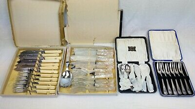 JOB LOT - Chrome Plate/Nickel Silver/EPNS - Various Cutlery - Boxed - Vintage