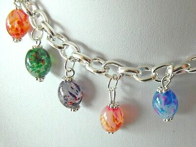 Easter Egg Charm Bracelet Jewellery Making Kit - Glass & Silver Plated - K0020L