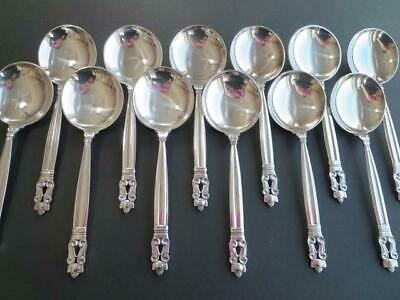 Price Per 1 Spoon* Georg Jensen Acorn Sterling Silver Flatware Soup Spoon-6 3/8""