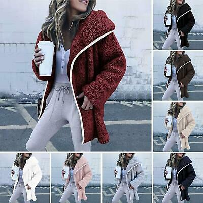Fj- Womens Winter Warm Fleece Jacket Ladies Casual Fur Trench Coat Outwear Stric