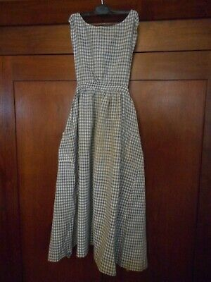 Antique Primitive Farmhouse Blue Homespun Plaid Cotton Fabric Pinafore Apron ~