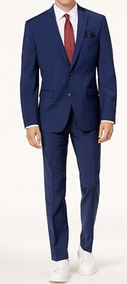 Bar Iii Men's Blue Slim Fit Wool Blend Stretch Suit Size 42 R $600 New