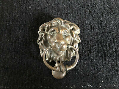 Antique Brass Or Bronze Lion Head Door Knocker Vintage Old