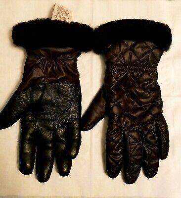 Ugg Womens Gloves Nylon Leather Palm Tech Water Resistant Black, L/XL