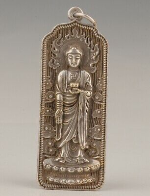 Chinese Tibet Silver Hand-Carved Guanyin Statue Pendant Spiritual Collection