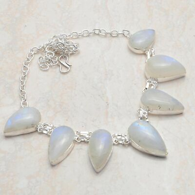 Amazing Rainbow Moonstone Handmade Big Necklace 50 Gms LBN-5591