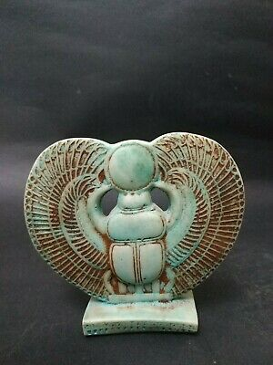 Raer Antiqe Ancient Egyptian Winged Scarab Beetle Figurine Egypt Decoration Bc