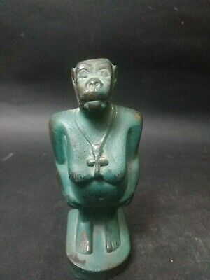Rare ANCIENT EGYPT ANTIQUE Egyptian green Pharaonic monkey 1413 bc