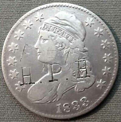 U.S. 1833 Silver Capped Bust Half Dollar - Counterstamped H. P. H