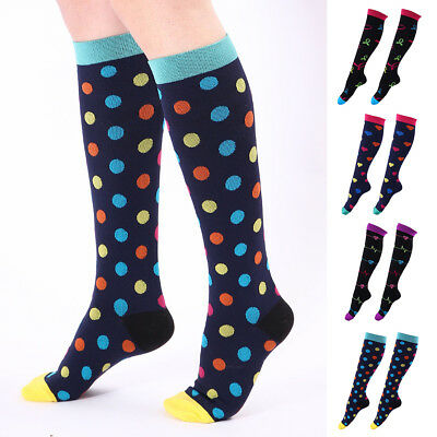 Colorful Heart Dots Athletic Men Women Breathable Long Compression Socks Nice