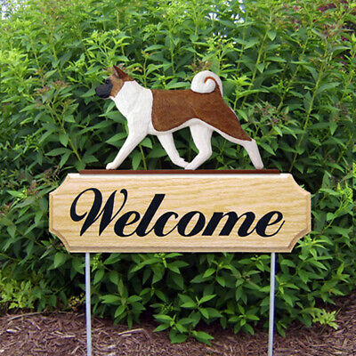 Akita Wood Welcome Outdoor Sign Red