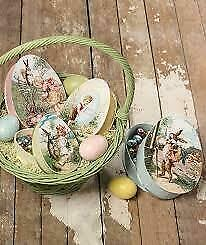 Bethany Lowe Easter Nesting Eggs Treat Boxes Set of 4 NEW  Vintage Style