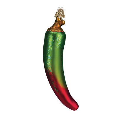 """Chili Pepper"" (Green/Red) (28070)X Old World Christmas Glass Ornament w/ OWC Bx"
