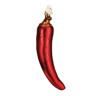 """Chili Pepper"" (Red) (28070)X Old World Christmas Glass Ornament w/ OWC Bx"