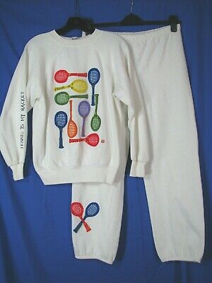 VTG CYN LES SHIRLEE DESIGN Sweat Suit OUTFIT TOP/PANTS Tennis Racquets CUTE! M