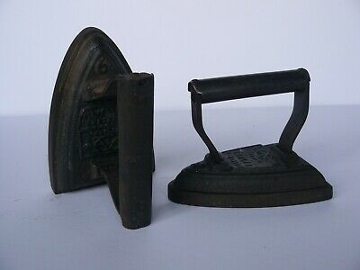 2 Different Vintage/Antique Cast Iron Flat Irons Door Stop farmhouse decor