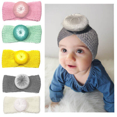 EG_ AU_ Newborn Baby Girls Winter Headwear Donut Headband Knitted Elastic Hair B