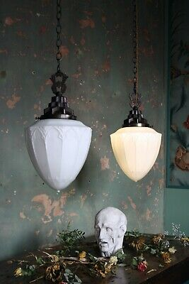 19th Century Pair of Large Gothic Opaline Lanterns Lights Antique