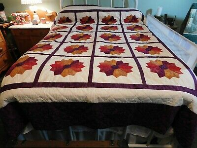 """Handmade Purple Gold Red Quilt with 4 Pillow Shams 98"""" x 84"""""""