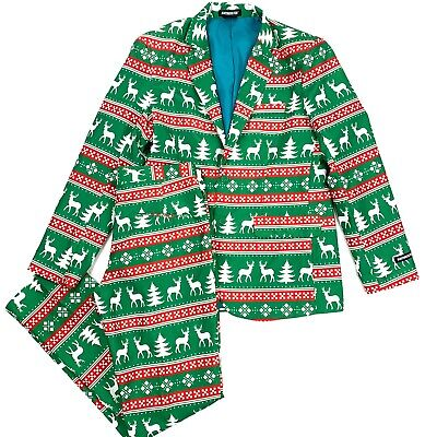 Christmas Printed Suit Size Large Mens Green Red Stripe Reindeer 2pc Suitmeister