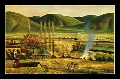 Dr Jim Stamps Us Painting The Bonfire Peter Hurd Topical New Mexico Postcard