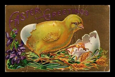 Dr Jim Stamps Us Easter Greetings Embossed Chick Egg Topical Postcard
