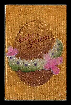 Dr Jim Stamps Us Egg Flowers Embossed Easter Greetings Topical Postcard